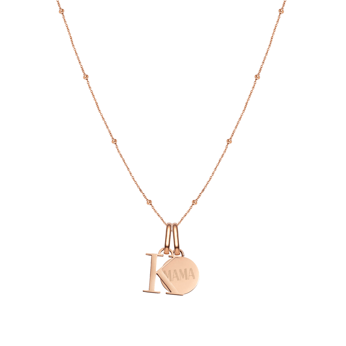 Letter & Circular Sphere Chain Necklace (Rose Gold)