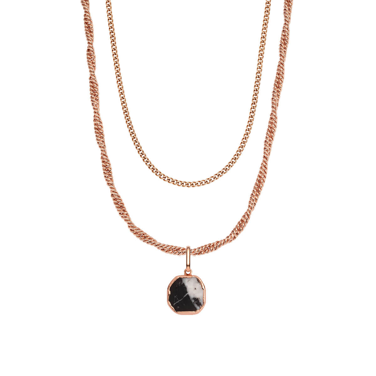 Rope Chain & Marble Pendant Layered Set (Rose Gold)
