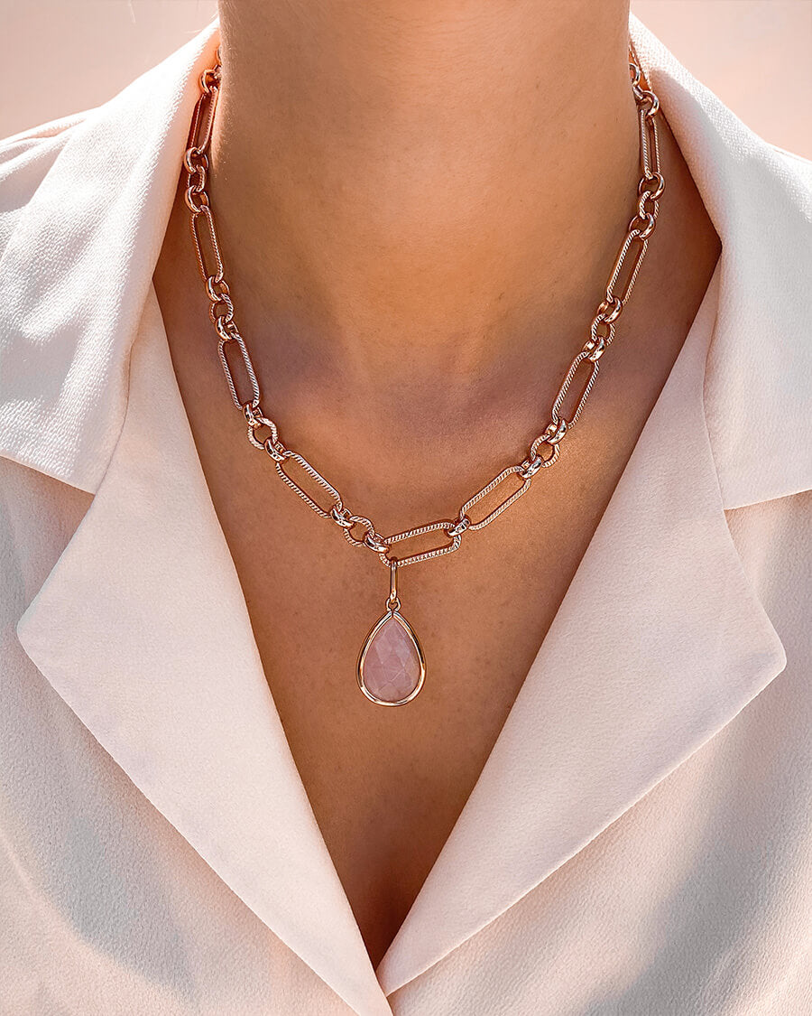Rose Quartz Figaro Chain Necklace (Rose Gold)