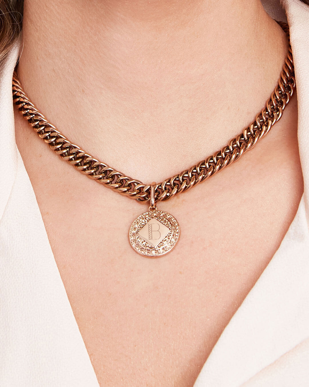 Maya Coin Curb Chain Necklace (Rose Gold)