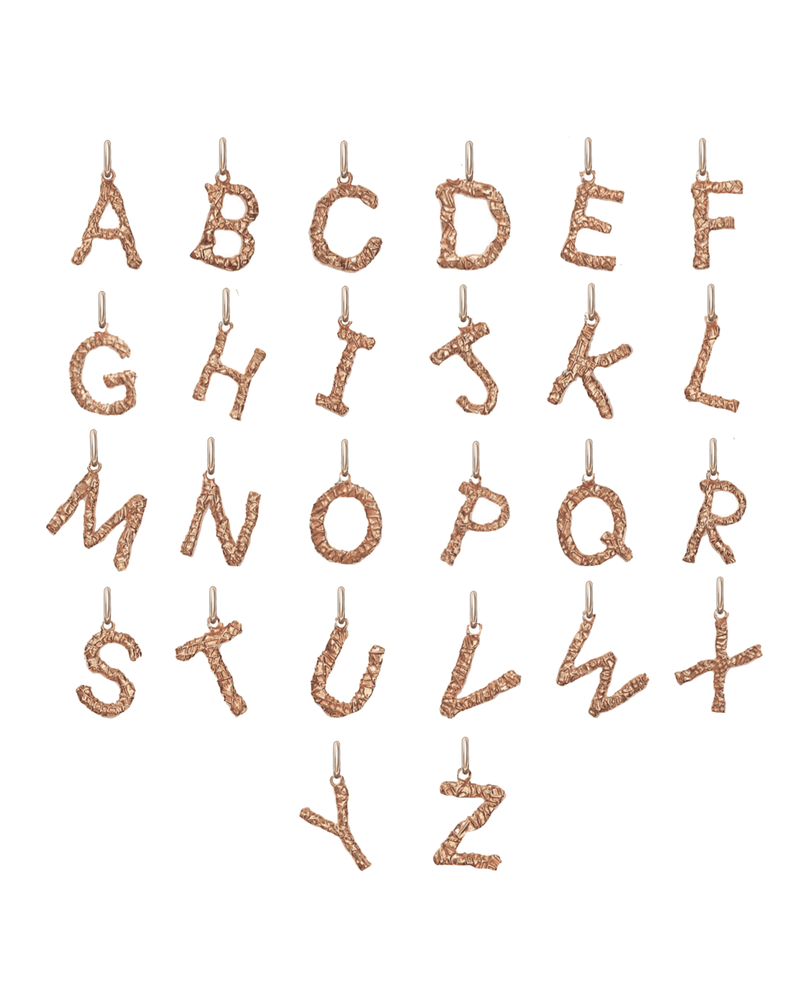 Foil Letter & Heart Square Link Chain Layered Set (Rose Gold)