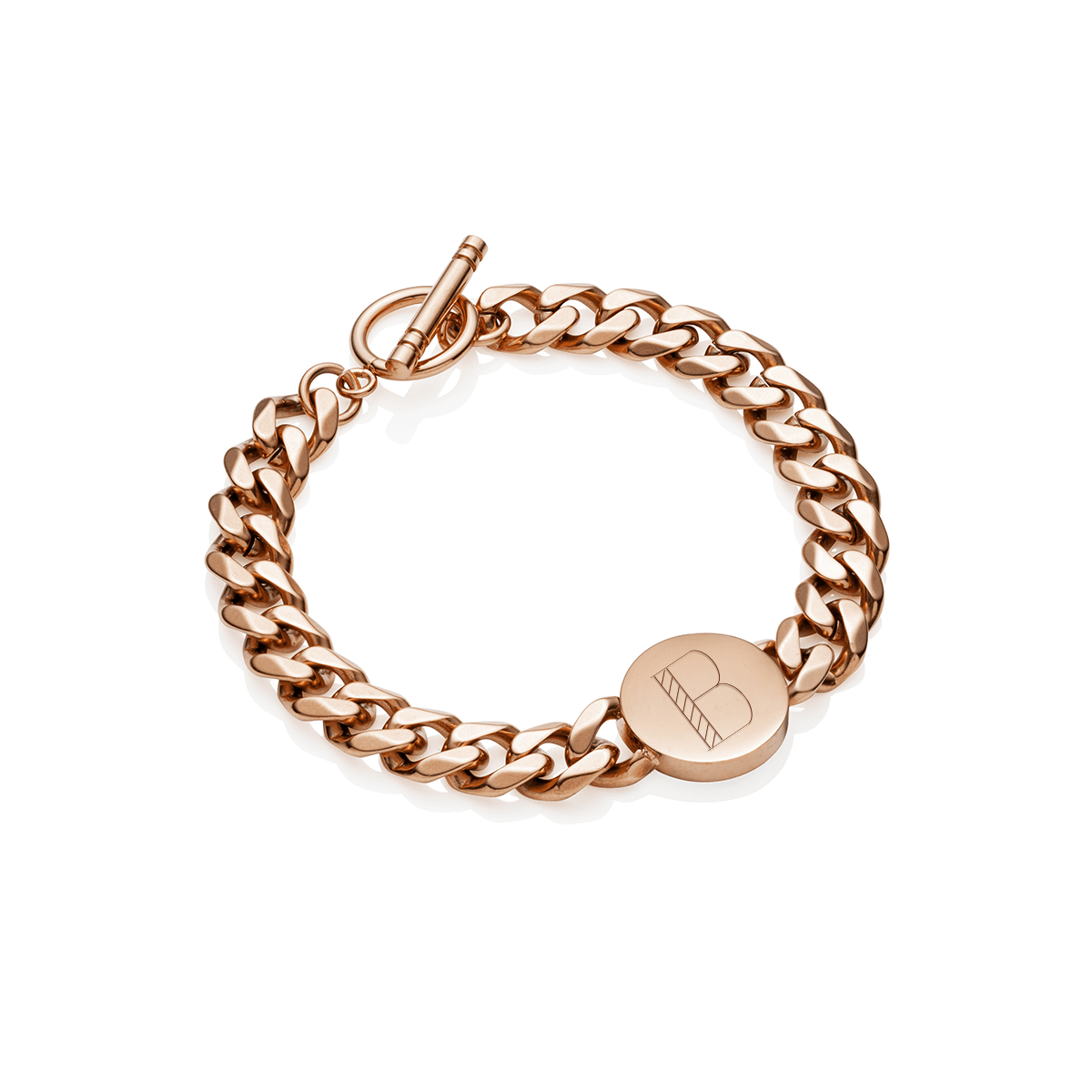 Circular Curb Chain Personalise Bracelet (Rose Gold)