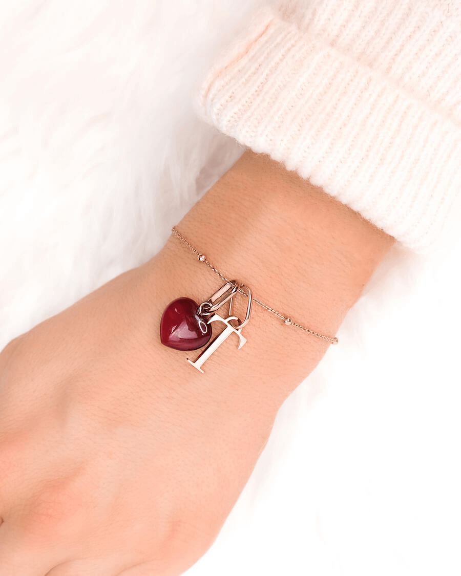Letter & Birthstone Sphere Chain Bracelet (Rose Gold)