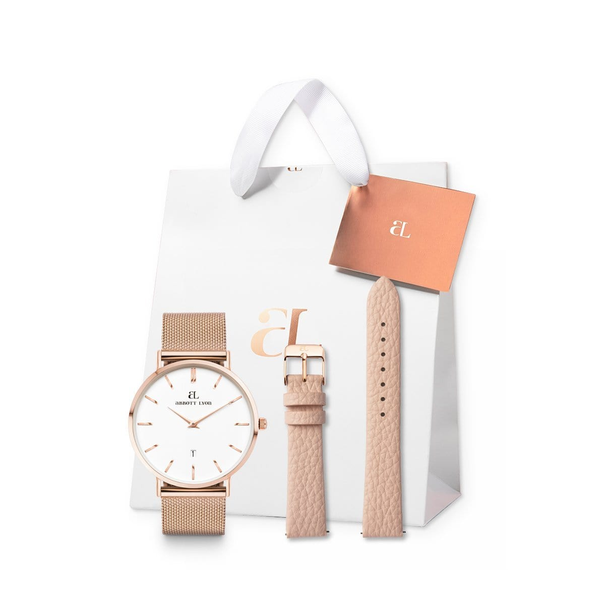 Rose Gold Kensington 34 Mesh Strap Set