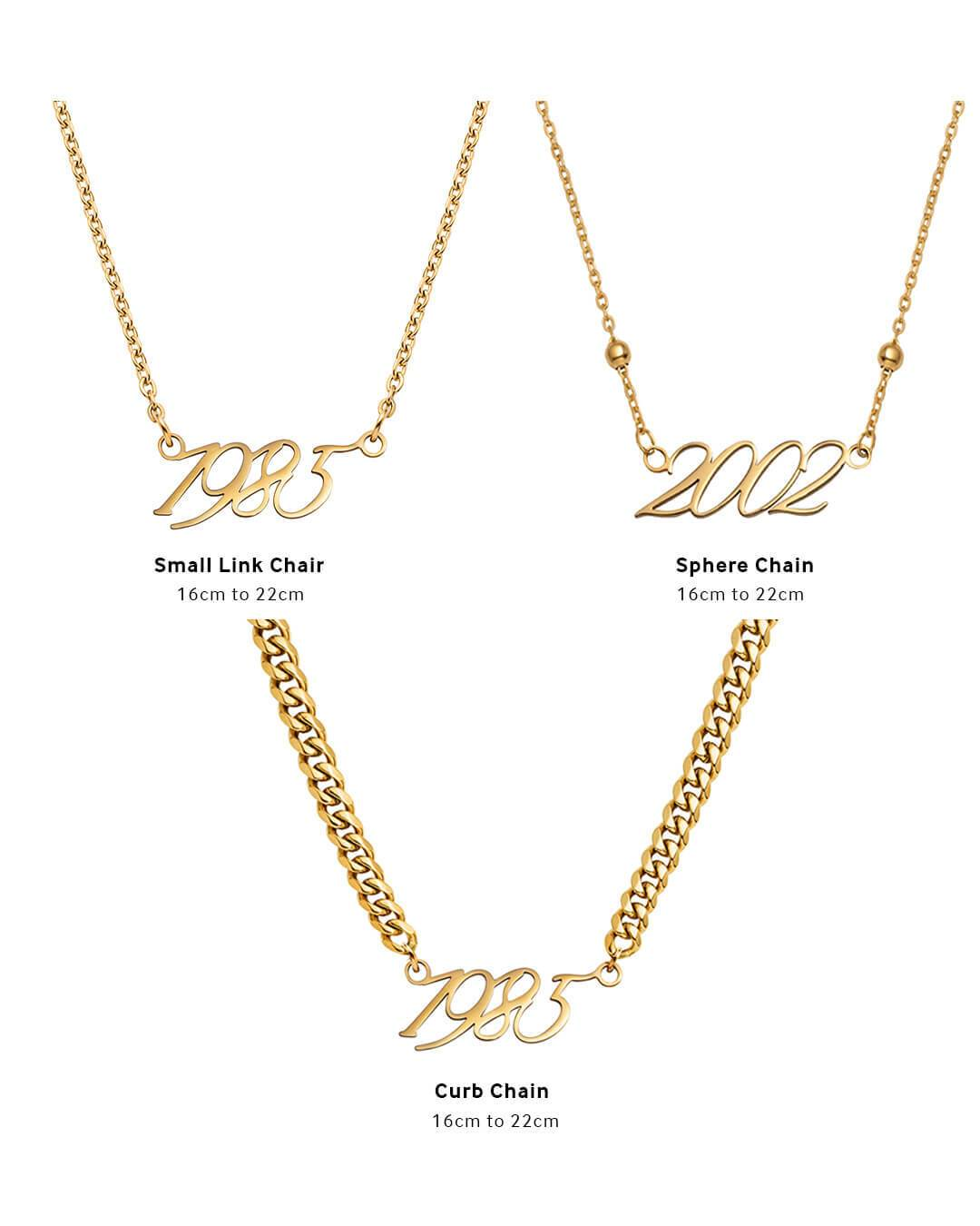 Script Date Necklace (Gold)