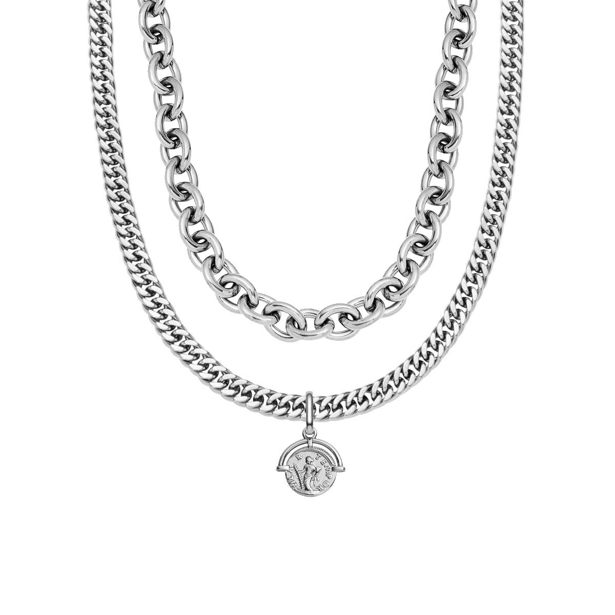 Oval Link Chain & Coin Pendant Layered Set (Silver)