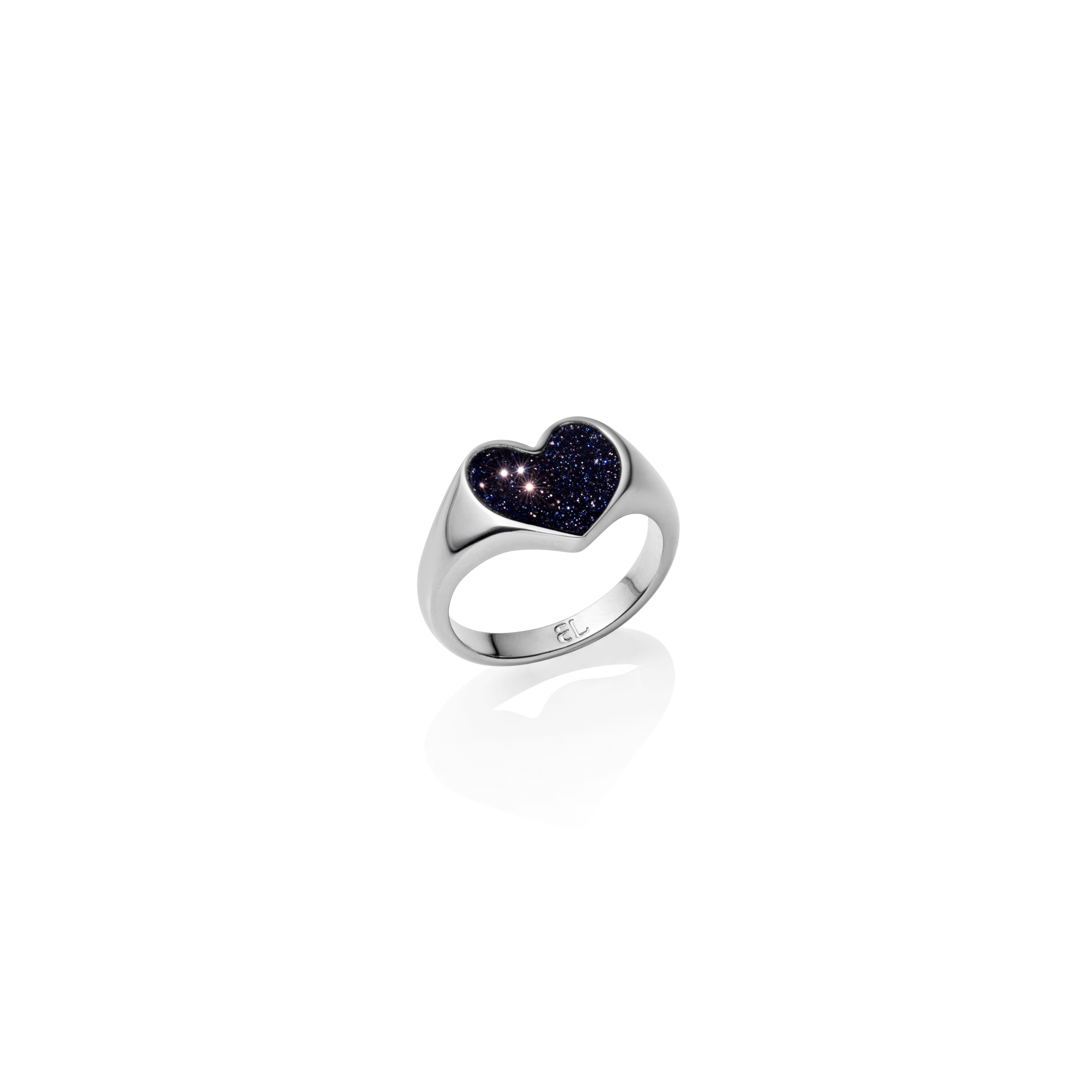 Estrella Heart Ring (Silver/Midnight Blue)