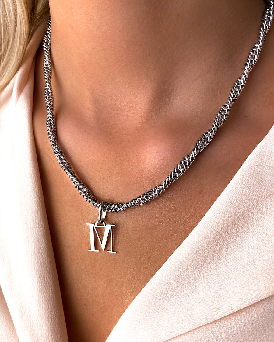 Letter Rope Chain Necklace (Silver)