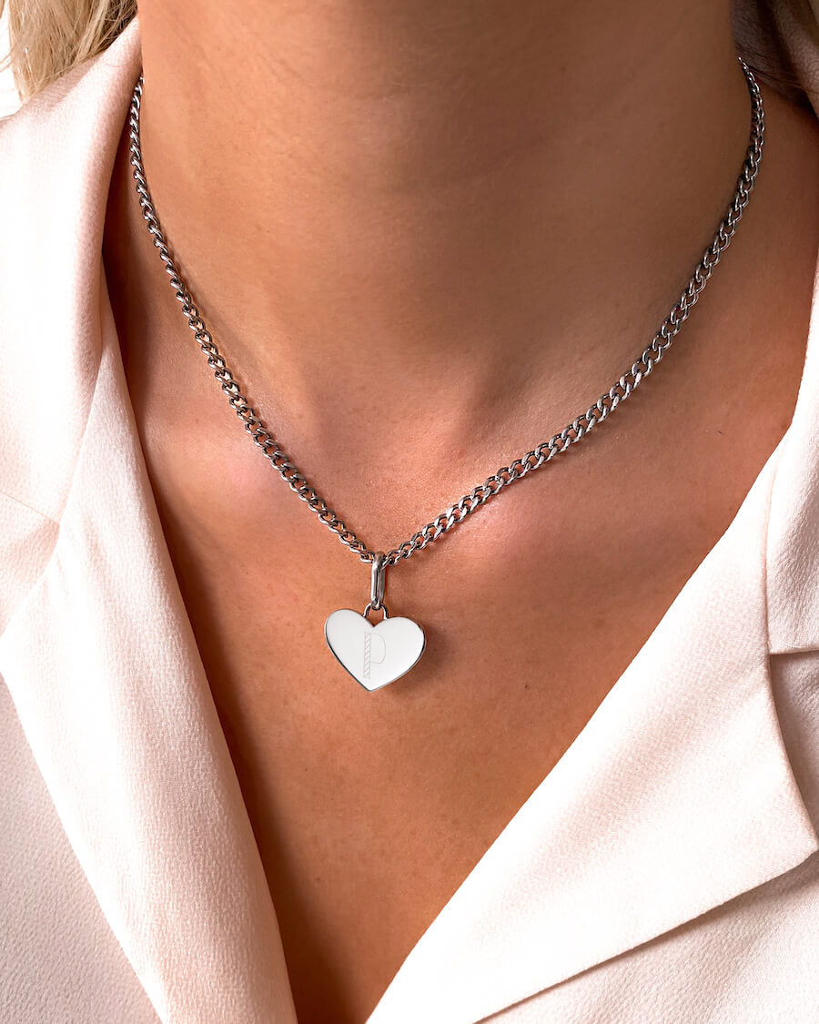 Heart Small Curb Chain Necklace (Silver)