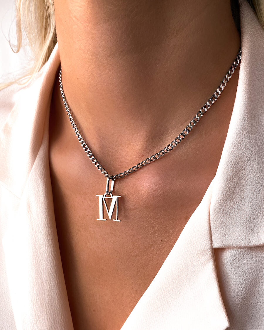 Letter Small Curb Chain Necklace (Silver)