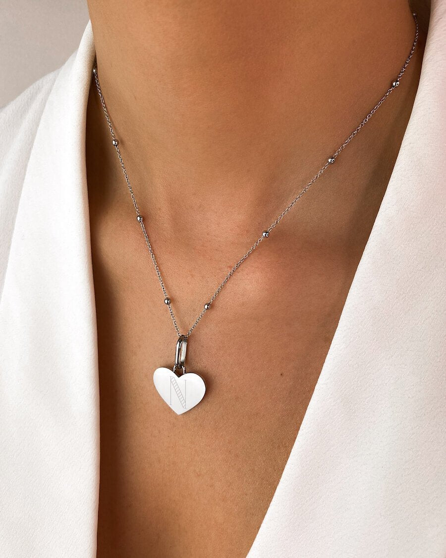 Heart Sphere Chain Necklace 16 in (Silver)