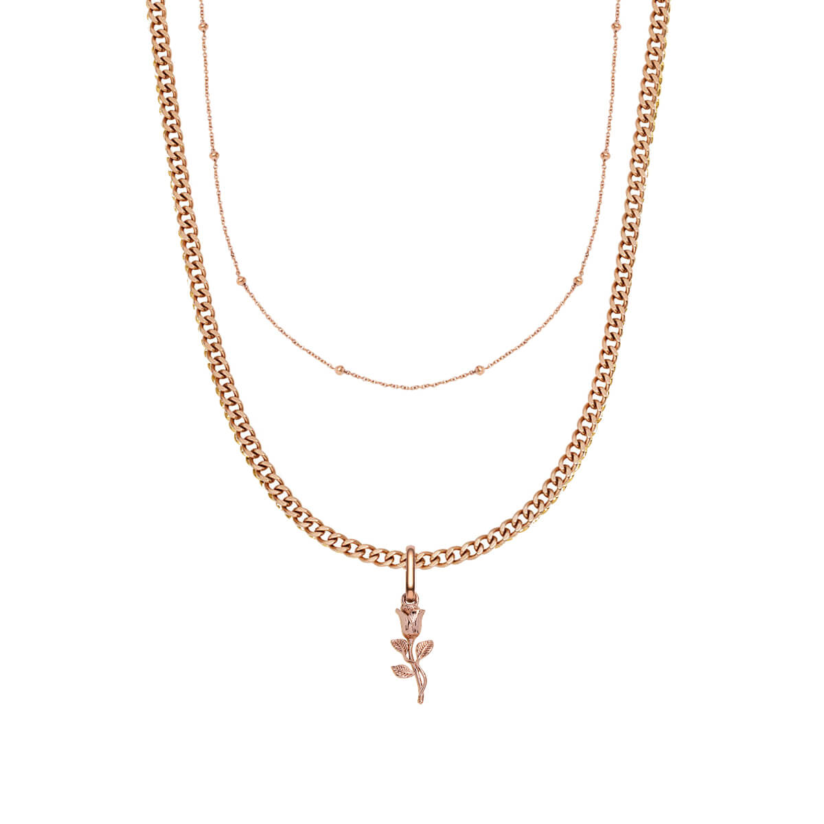 Small Curb Chain & Rose Pendant Layered Set (Rose Gold)