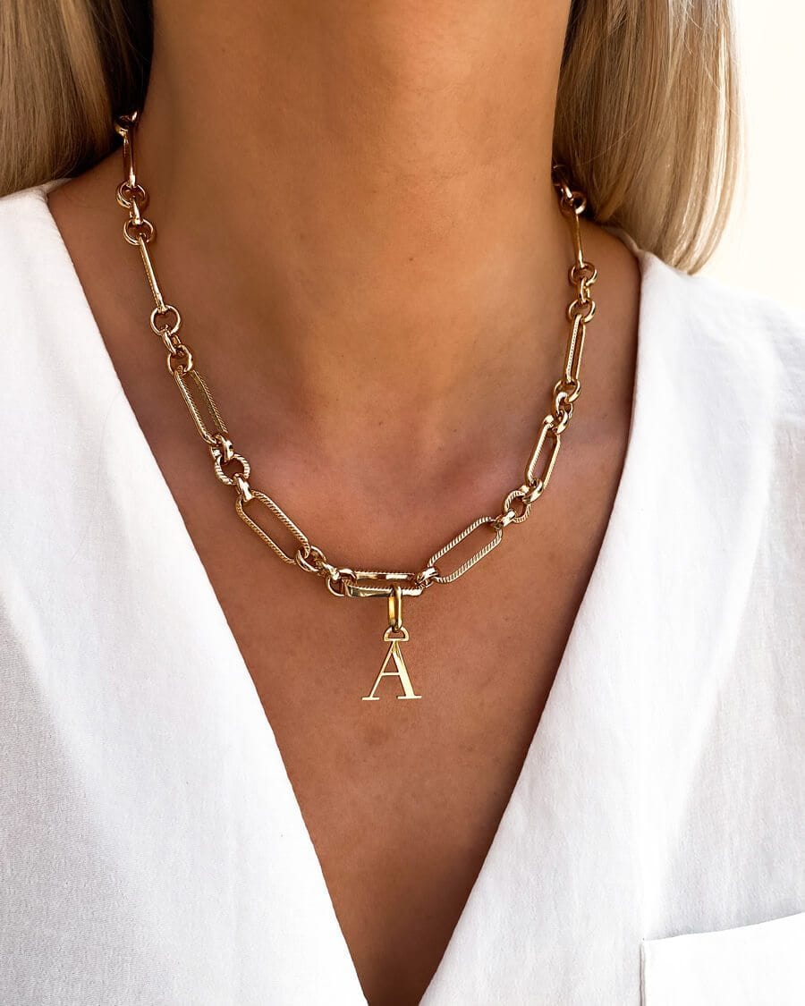 Letter Figaro Chain Necklace (Gold)