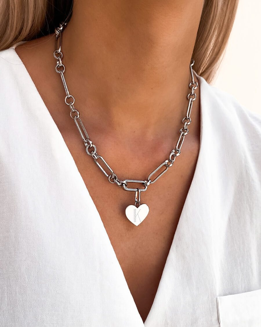 Heart Figaro Chain Necklace (Silver)