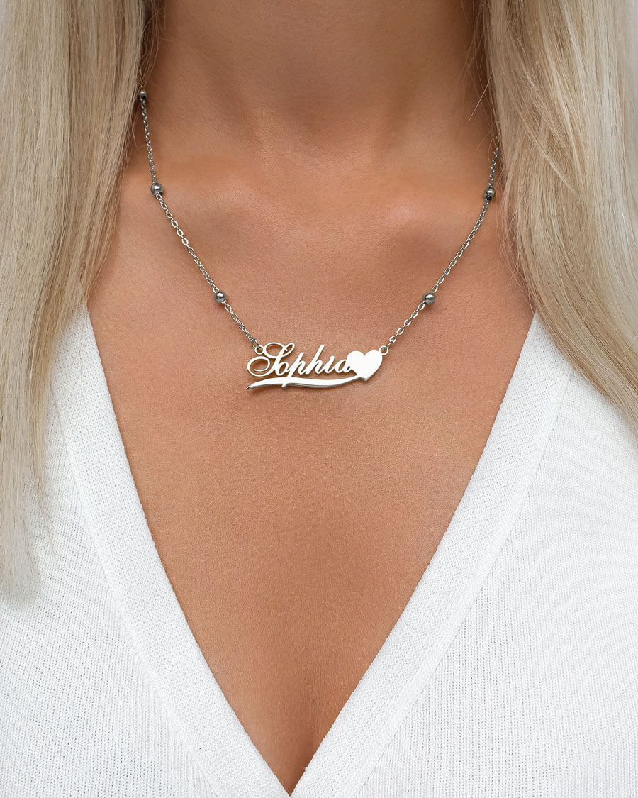 Love Heart Name Necklace (Silver)