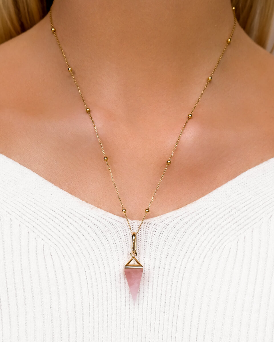 Rose Quartz Prism Sphere Necklace (Gold)