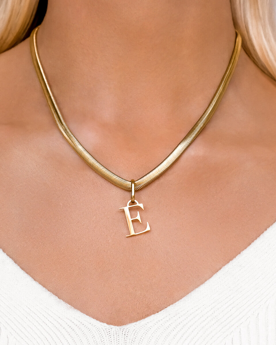 Letter Snake Chain Necklace (Gold)