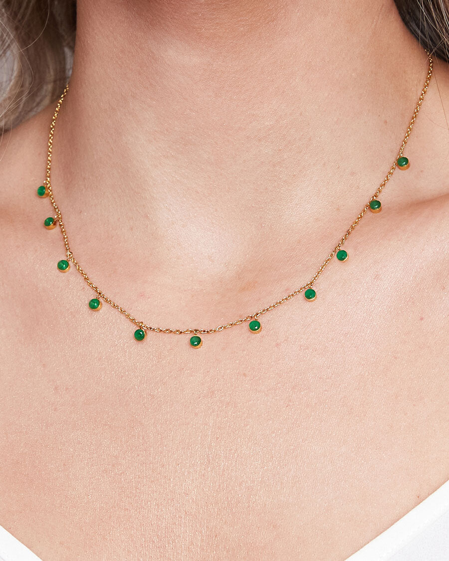 Emerald Droplet Necklace (Gold)