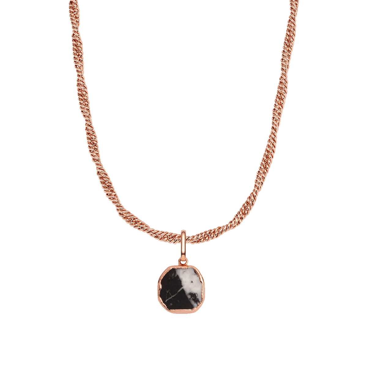 Black Marble Rope Chain Necklace (Rose Gold)