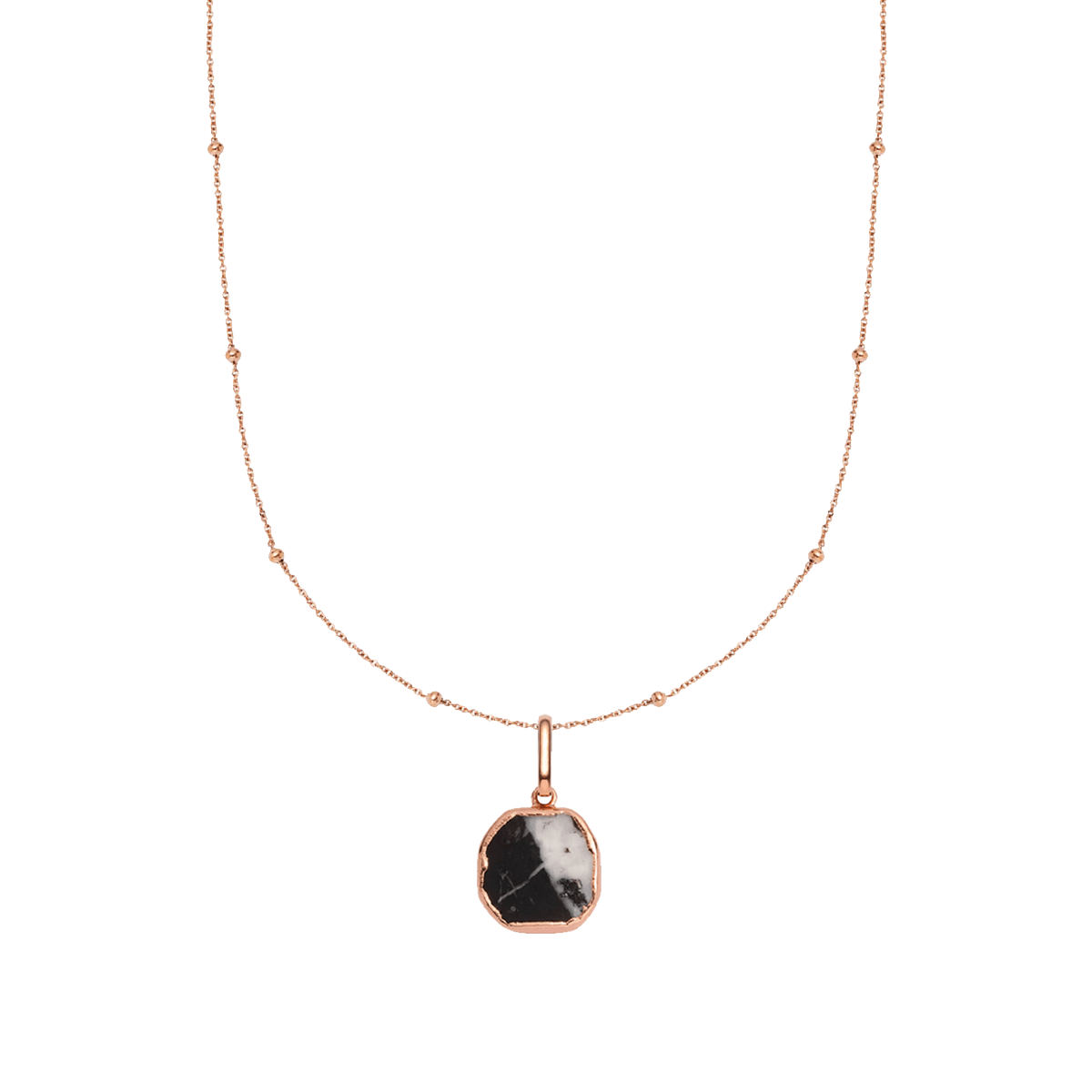 Black Marble Sphere Chain Necklace 16 in (Rose Gold)