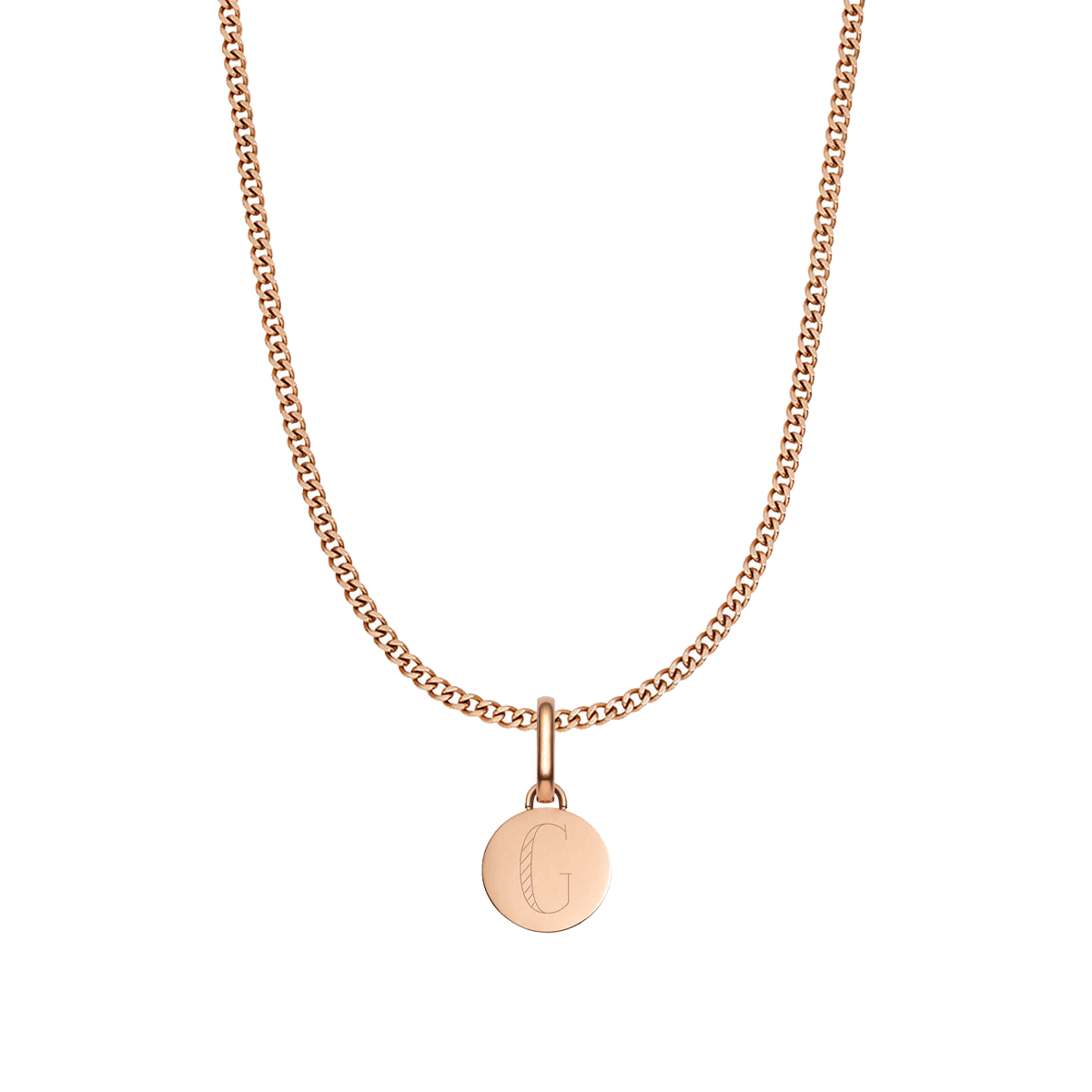Circular Small Curb Chain Necklace (Rose Gold)