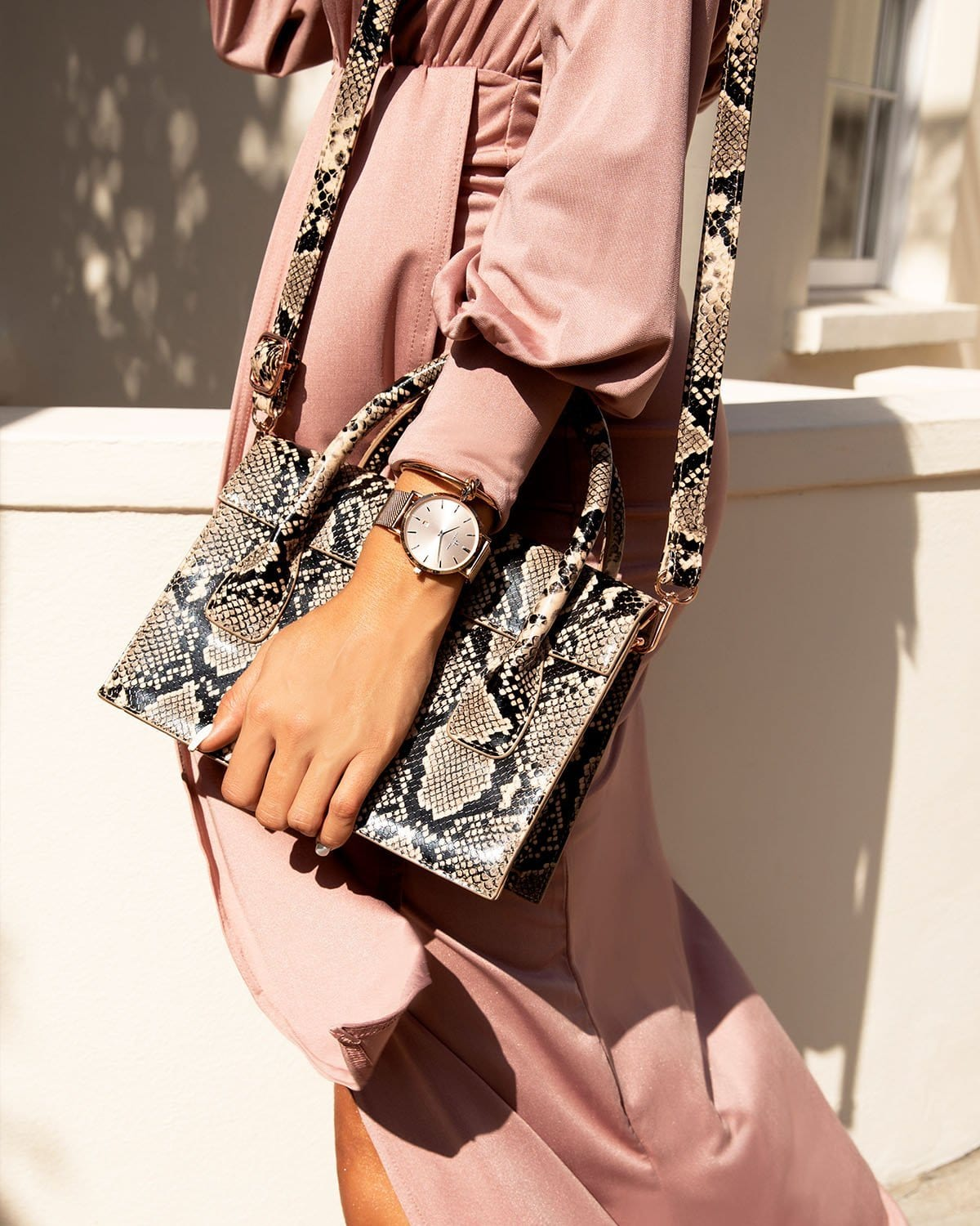 Cream Snakeskin Arabella Handbag Rose Gold