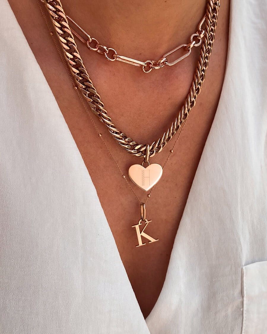 Heart Curb Chain Necklace 18 in (Rose Gold)