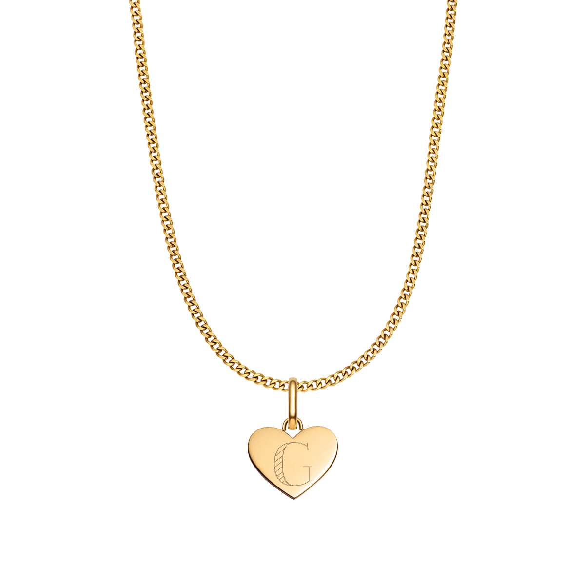 Heart Small Curb Chain Necklace (Gold)