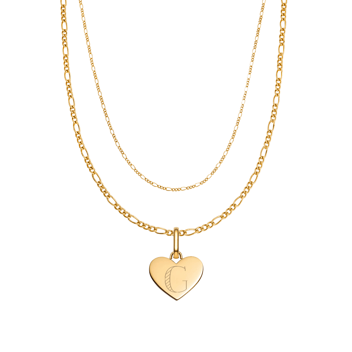 Heart Double Chain Figaro Necklace (Gold)