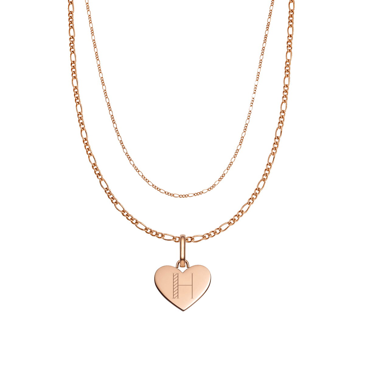 Heart Double Chain Figaro Necklace (Rose Gold)