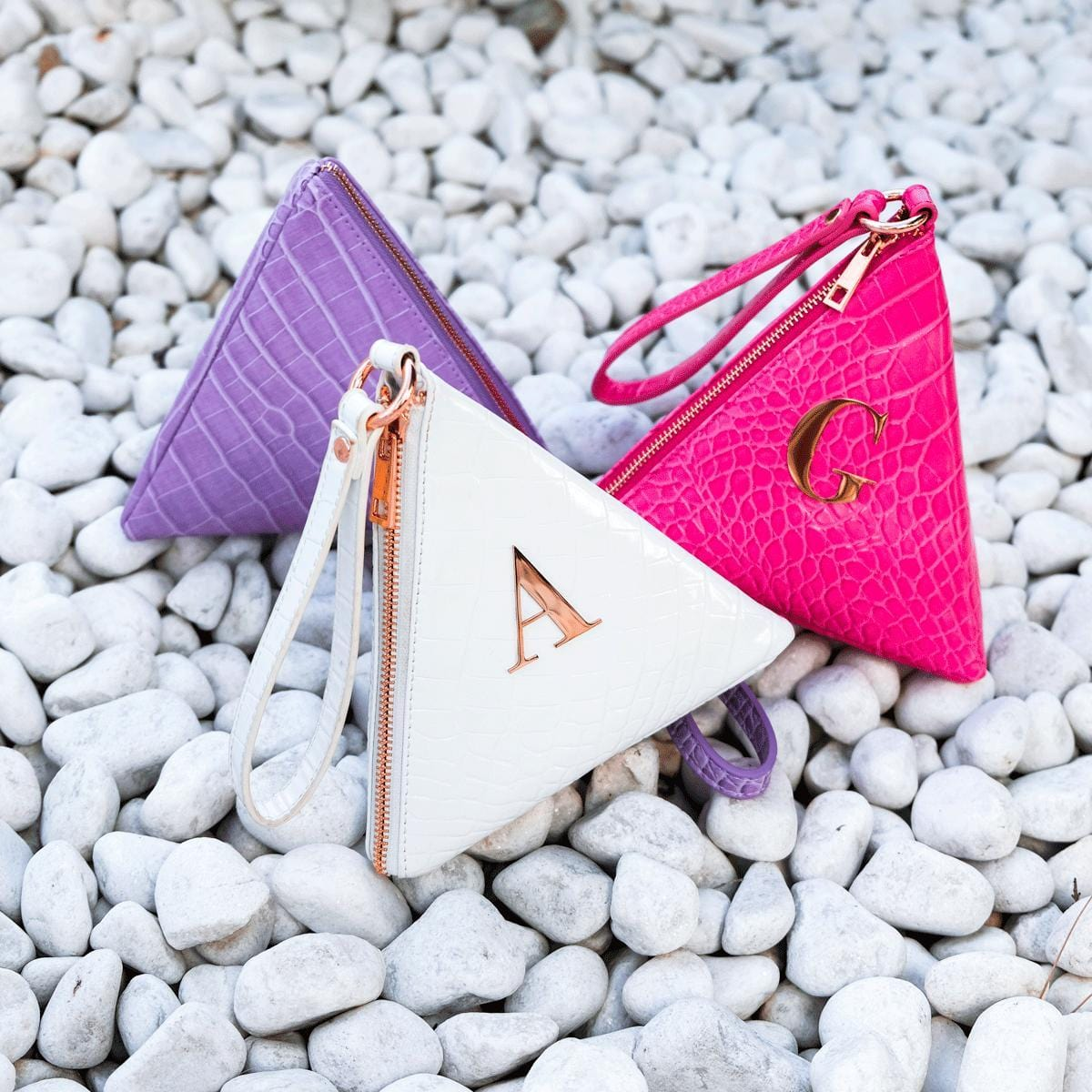 Lilly Pyramid Clutch Bag (Snow White/Rose Gold)