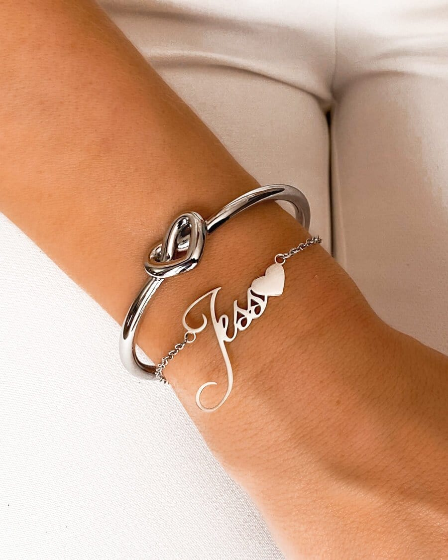 Love Heart Name Bracelet (Silver)