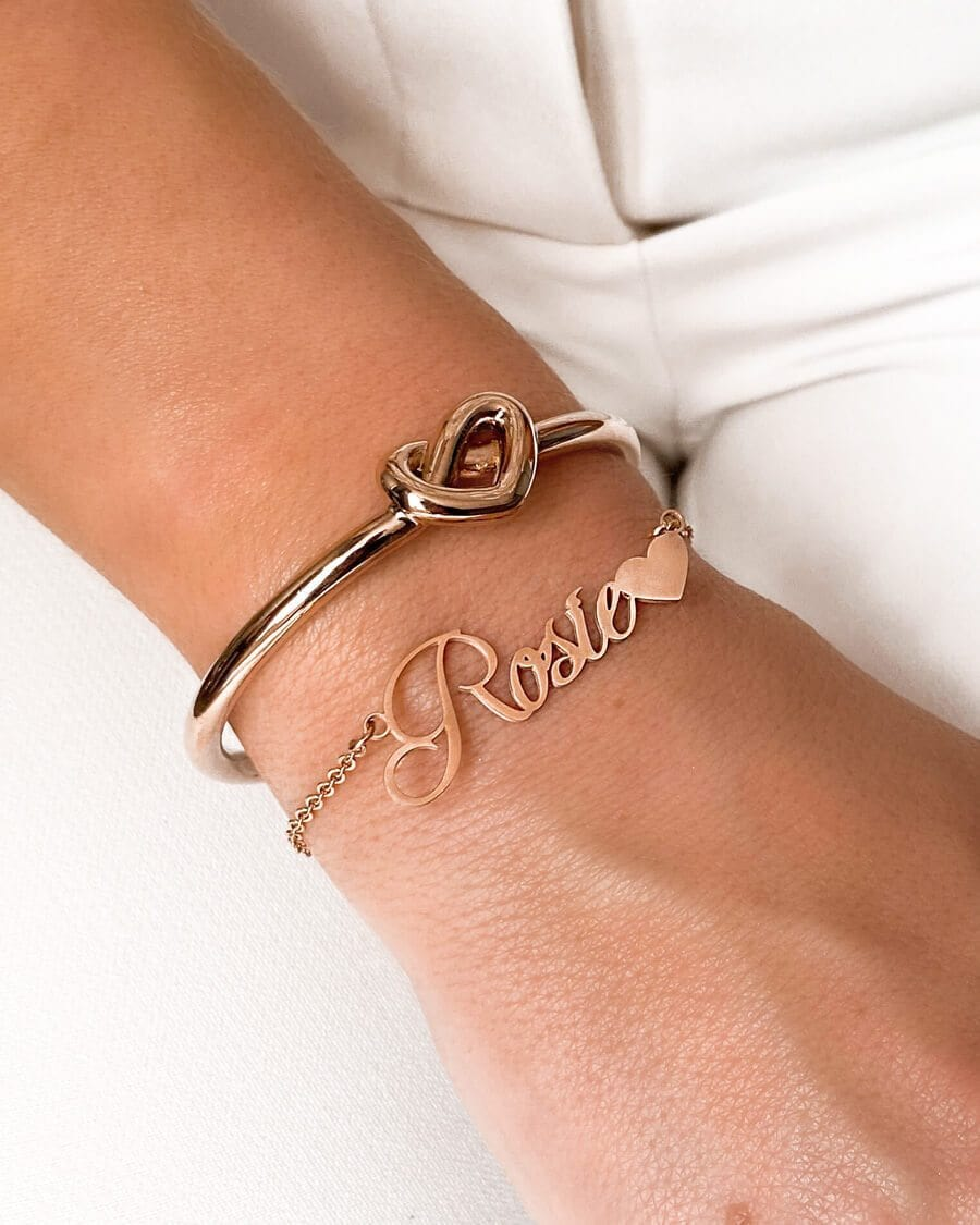 Love Heart Name Bracelet (Rose Gold)