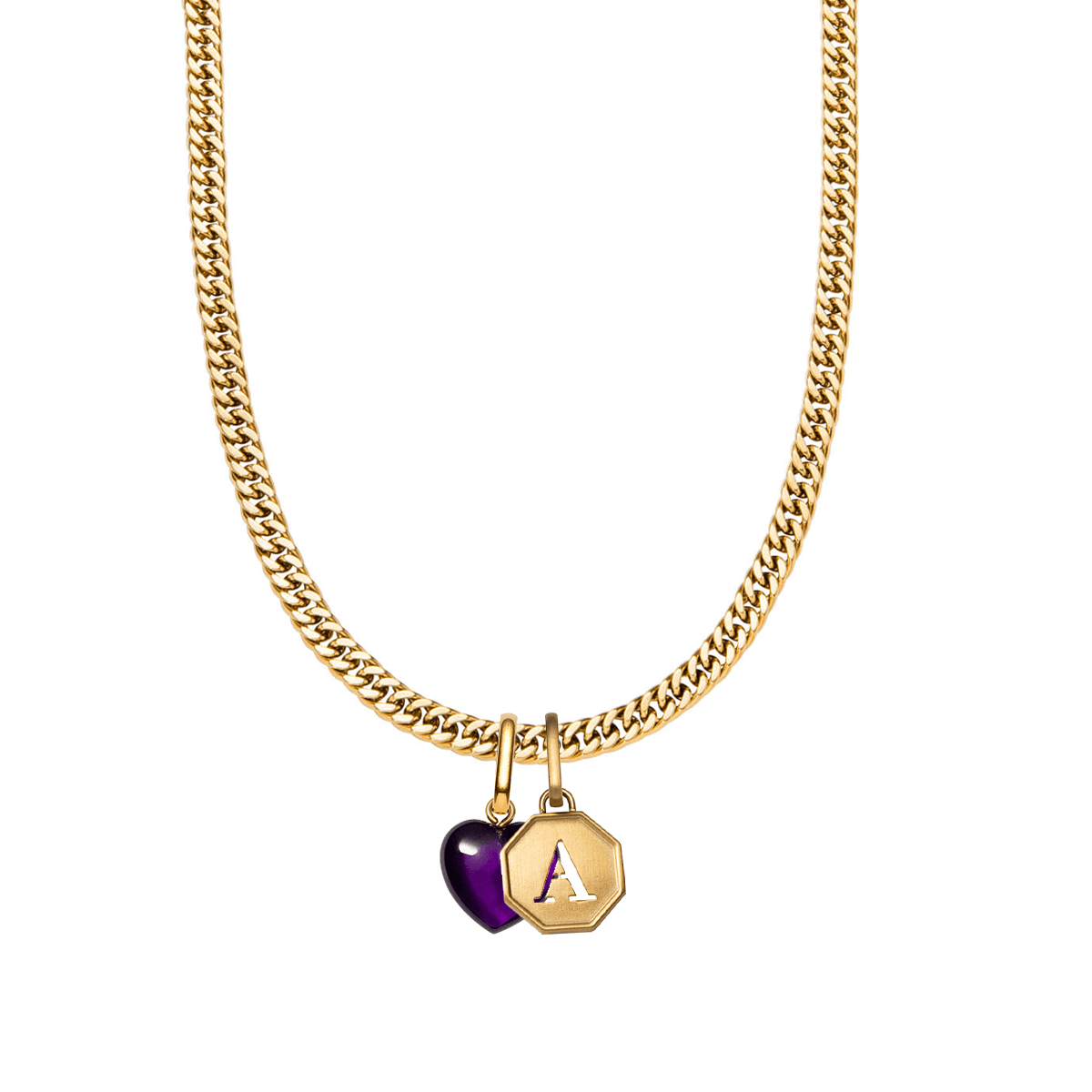 Octagon Letter & Birthstone Curb Chain Necklace (Gold)