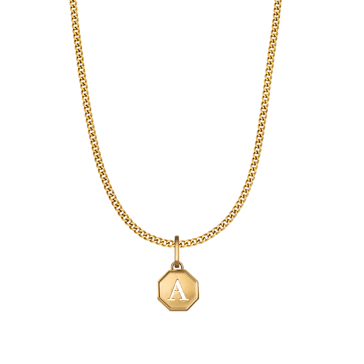 Octagon Letter Small Curb Chain Necklace (Gold)