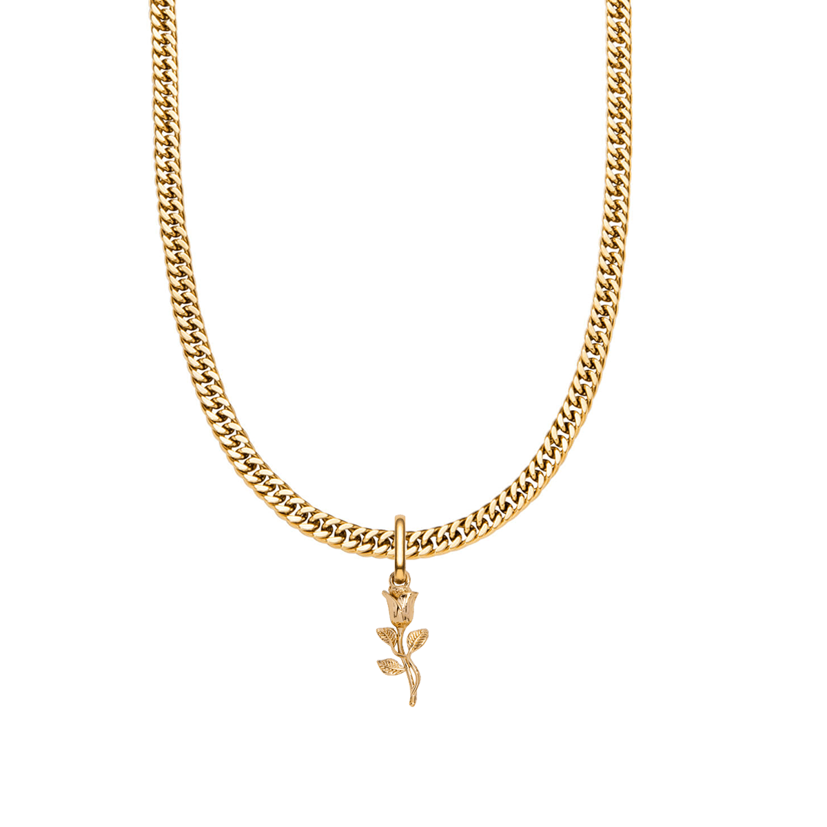 Rose Curb Chain Necklace 18 in (Gold)