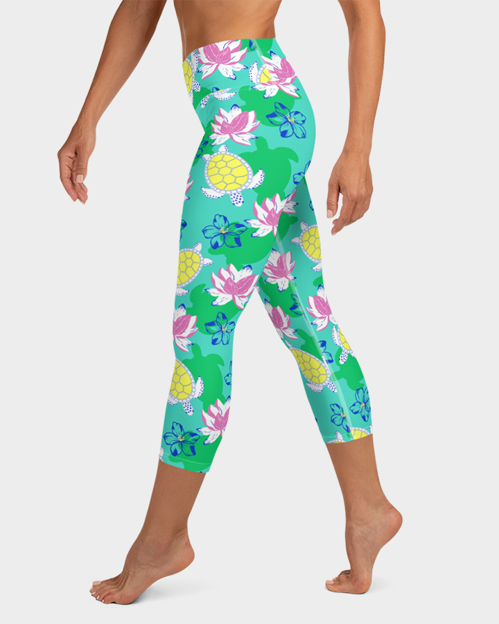 Sea Turtles and Flowers Yoga Capri Leggings