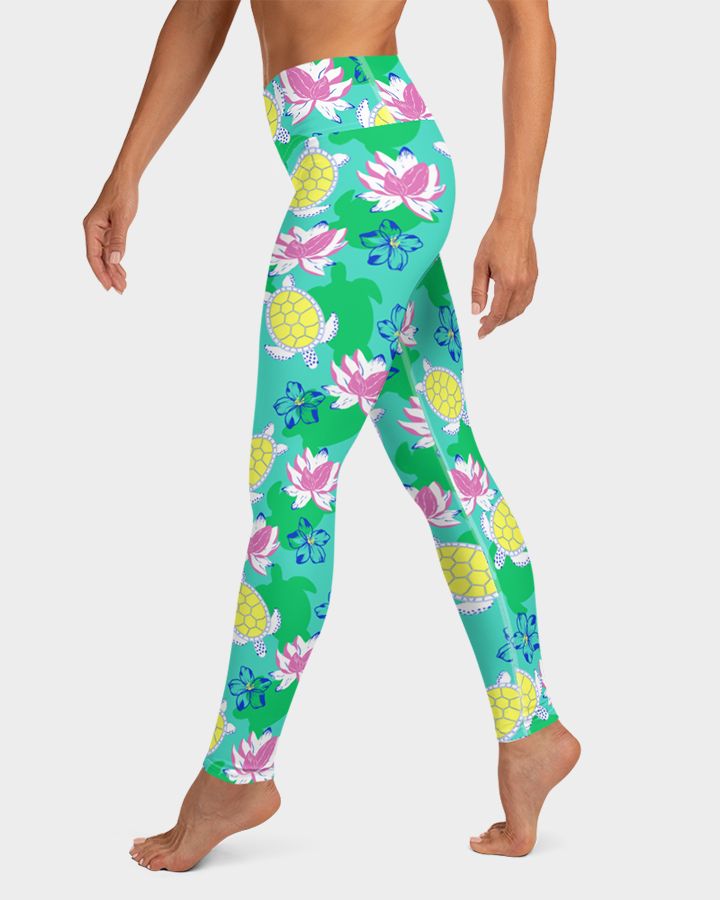 Sea Turtles and Flowers Yoga Leggings