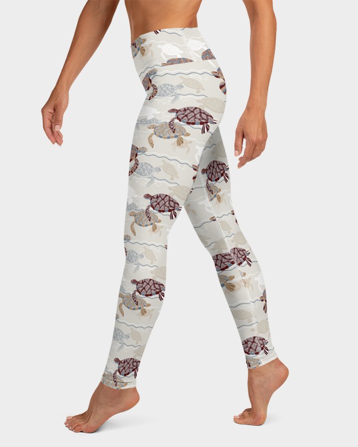 Abstract Sea Turtles Yoga Leggings