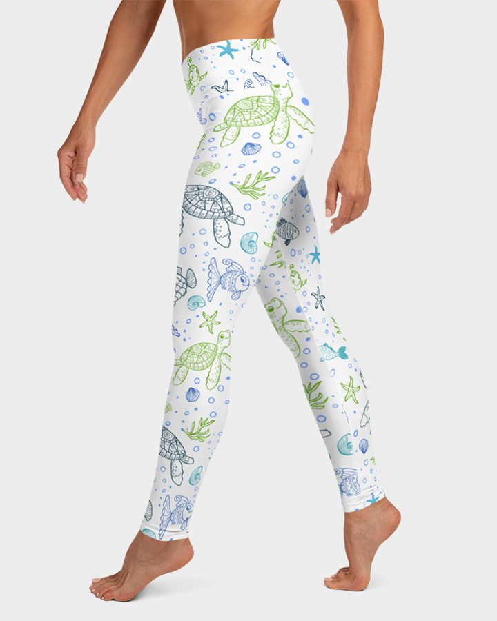 Sea Turtles and Fish Yoga Leggings