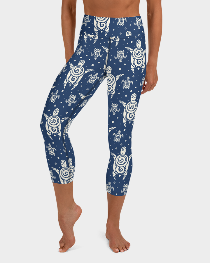 Sea Turtles Tattoo Yoga Capri Leggings