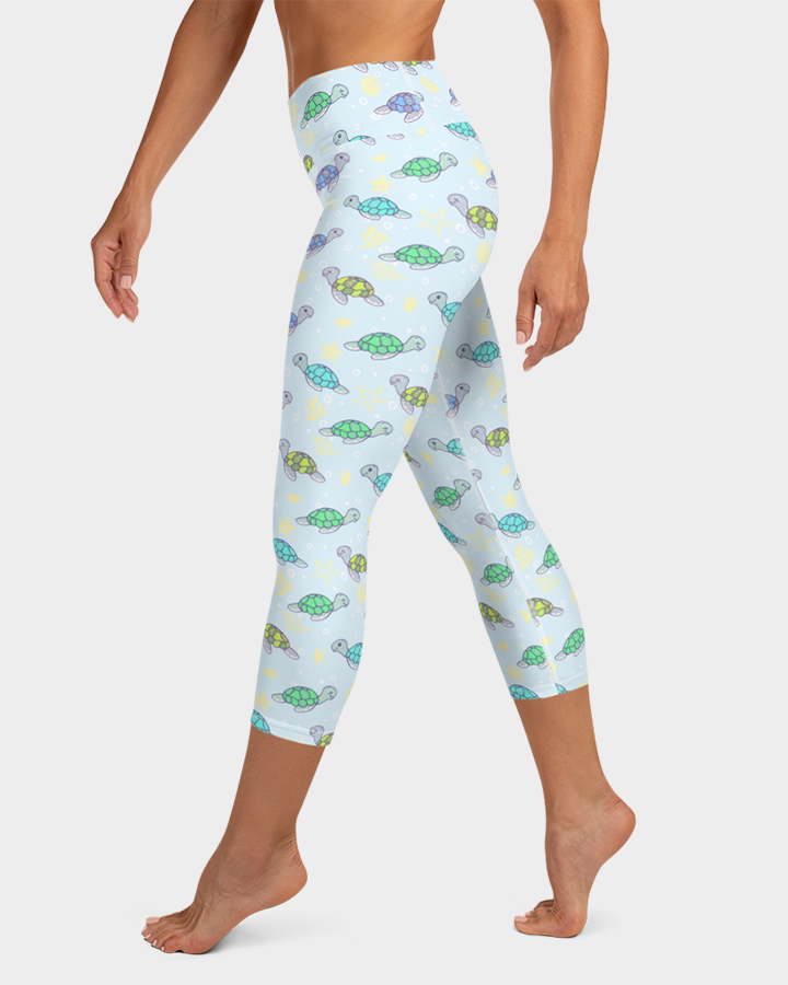Cute Baby Sea Turtles Yoga Capri Leggings