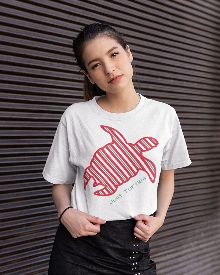 Candy Cane Sea Turtle - White - Unisex Tee