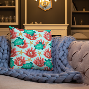 Sea Turtle and Coral Premium Pillow