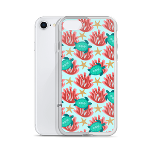 Sea Turtle and Coral iPhone Case
