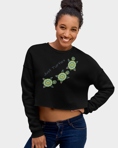 Green Sea Turtles Crop Sweatshirt