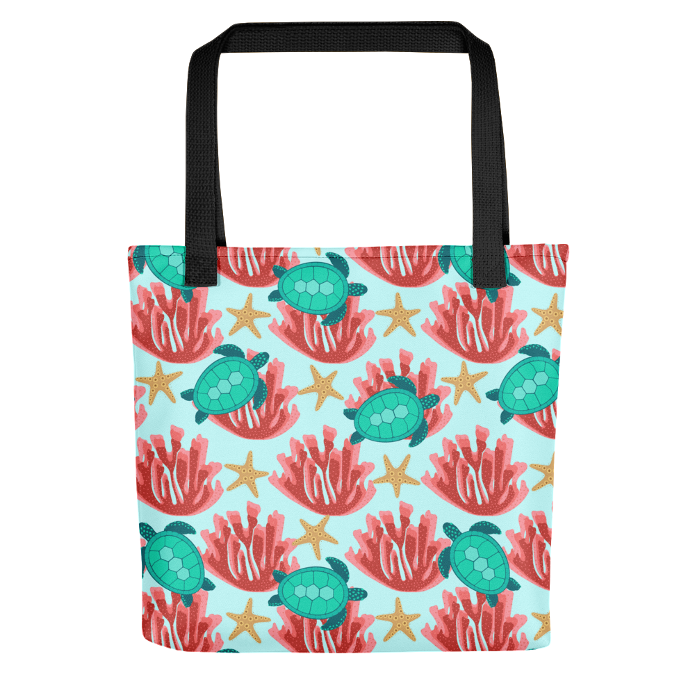 Sea Turtle and Coral Tote Bag