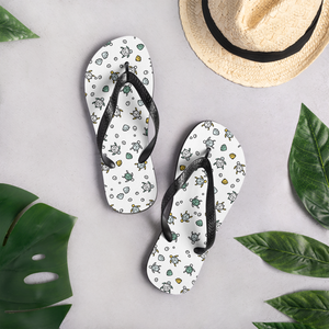 Hand-drawn Sea Turtles - White Flip-Flops