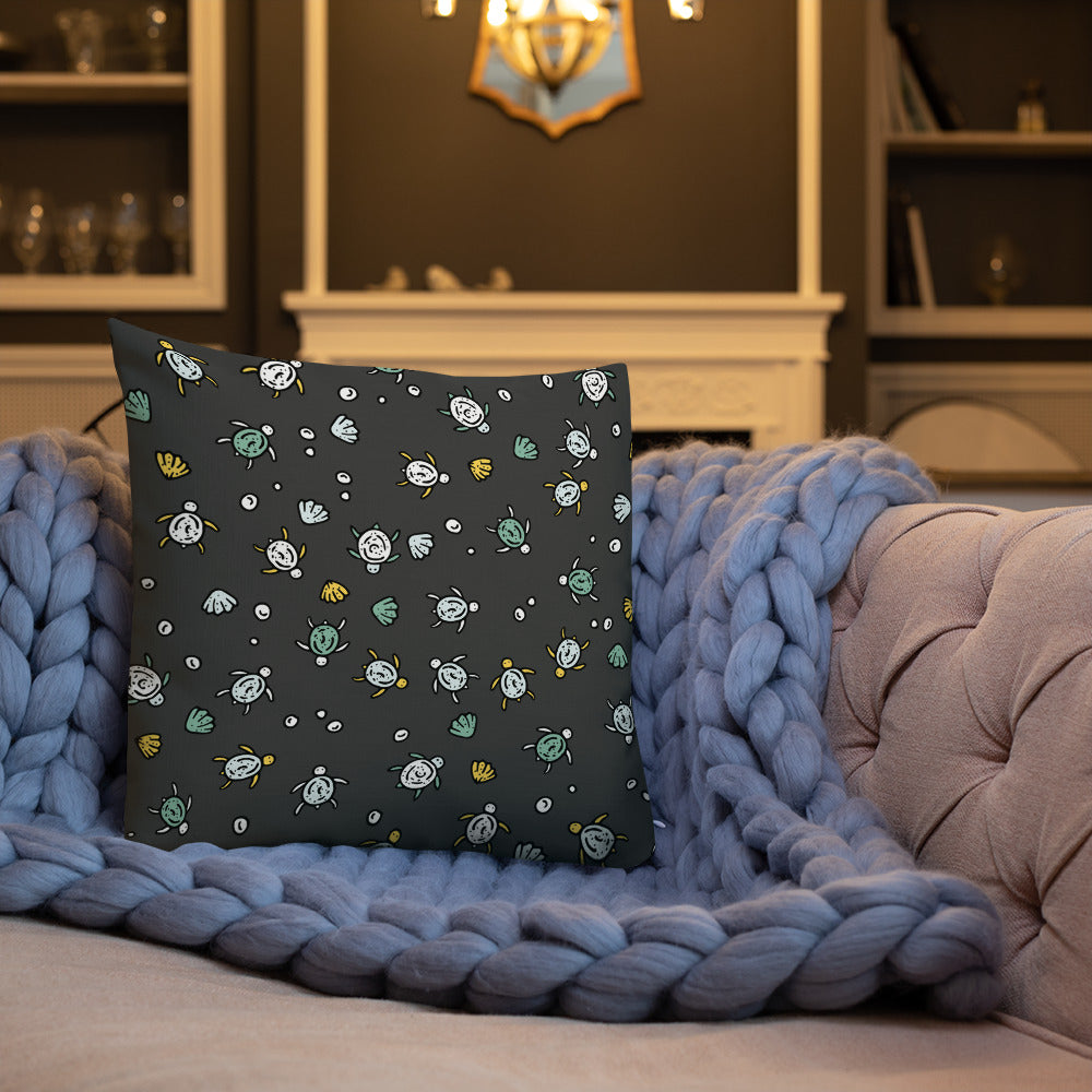 Hand-drawn Sea Turtles - Charcoal Premium Pillow