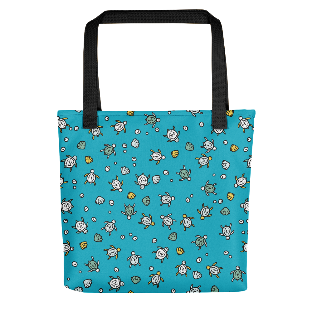Hand-drawn Sea Turtles - Ocean Blue Tote Bag